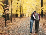 Couple walking in a wood